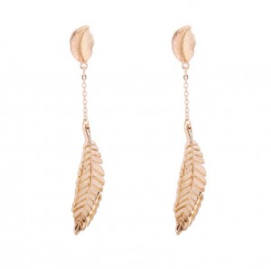 Gold plated Europe style brand jewelry leaf shape pendant ladies earrings best birthday gift for girlfriend