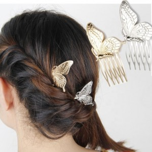 Wholesale Custom Golden Bridal Metal Hair Accessories Butterfly Hair Clip