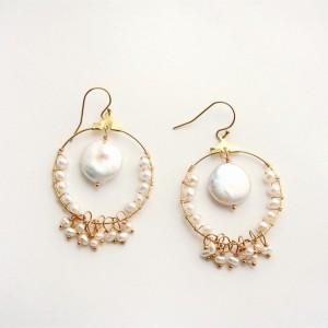 Coin Pearl Earring Bohemian Earring Pearl Earring