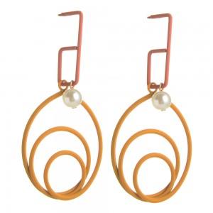 WENZHE New Women Summer Jewelry Geometric Irregular Colorful Metal Pearl Drop Earrings