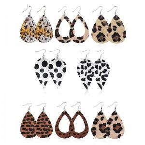 WENZHE Fashion trend wool face leopard imitation leather earrings animal skin drop hollow leather earrings