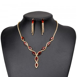 WENZHE New High Quality Dubai 18K Gold Plated Red Crystal Women Bridal Wedding Jewelry Set