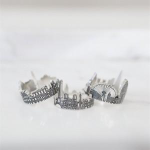 Custom City Ring  Cityscape Ring   Skyline Ring  Statement Ring