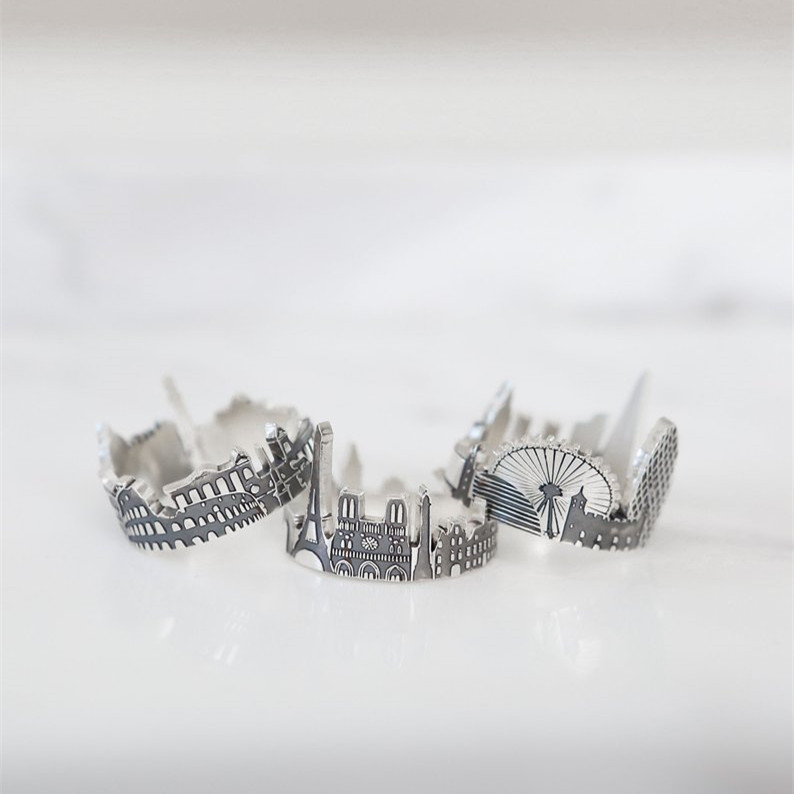 Custom City Ring  Cityscape Ring   Skyline Ring  Statement Ring Featured Image