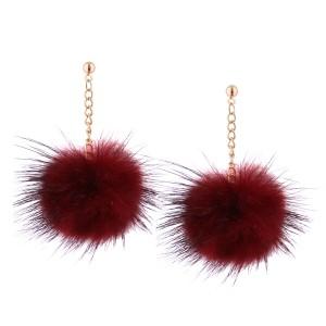 Fashion Korean style fur pom pom ball eardrop earrings for women