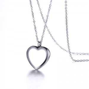 WENZHE Stainless steel lady heart simple pendant necklace