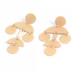 WENZHE Gold Geometric Alloy Earring