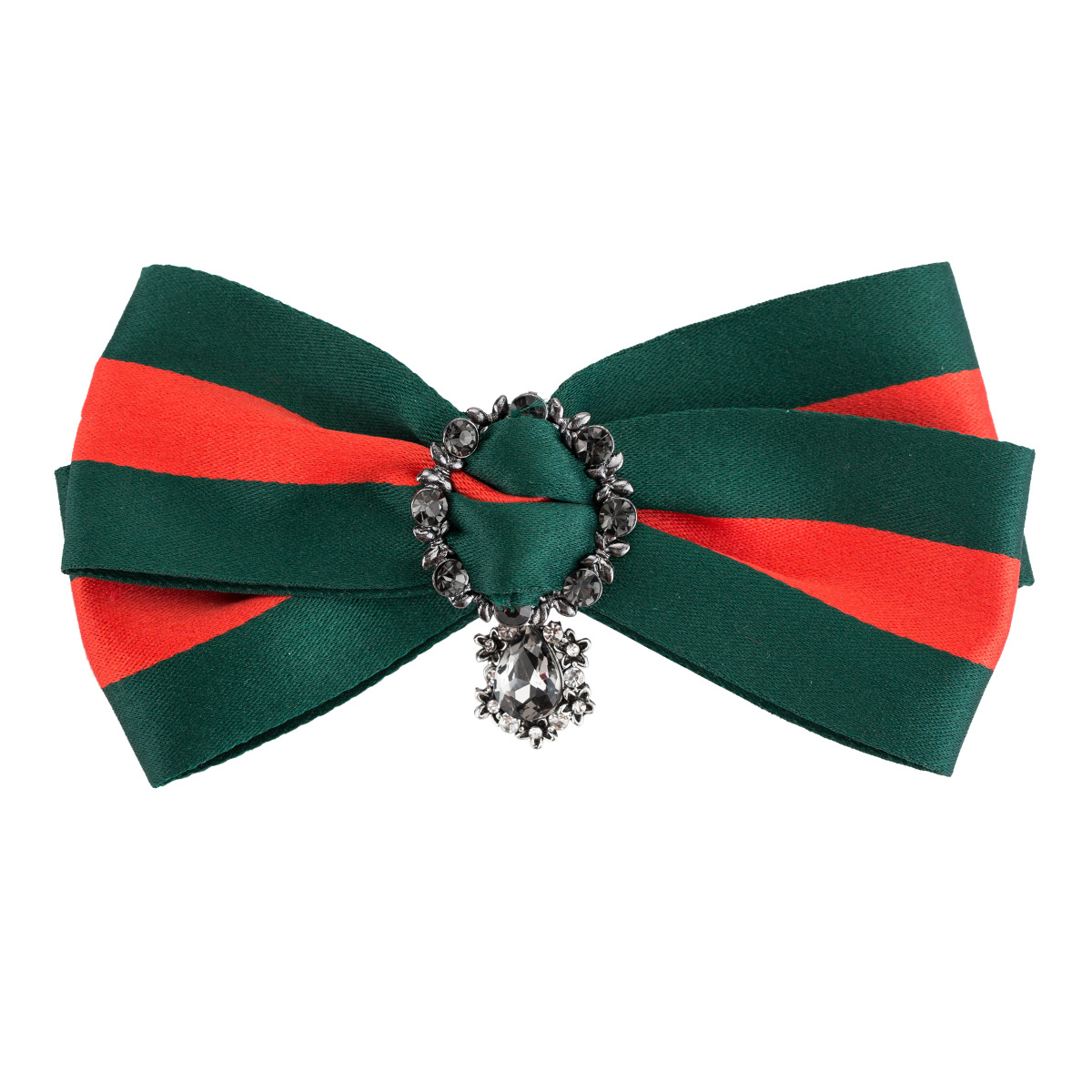 WENZHE Vintage Ladies Crystal Big Bow Ribbon Brooch Pin Necktie Christmas DIY Accessories Featured Image
