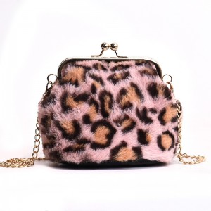 Newest leopard Faux Fur Cross Body Bag Shoulder Bag Long Strip Bag