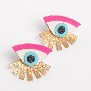 Gold earrings 2018 fashion new design handmade leather stud eye statement earrings for woman jewelry