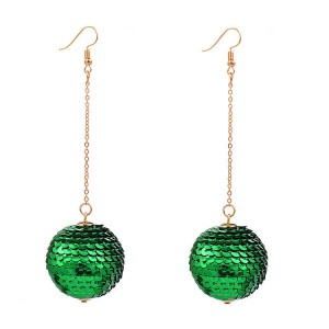 Hot sale attractive women jewelry simple design Sequins ball pendant gold plated drop earrings