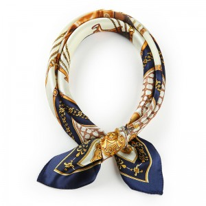 WENZHE New Silk Printed Small Kerchief Scarf Silk Luxury Satin Scarf For Women