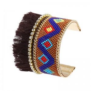Fashion Jewelry Bohemian Style Irregular Geometric Patterns Tassel Seed Beads Boho Cuff Bracelet