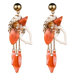 WENZHE Summer Resin Flower Ladies Colorful Long Drop Spring Earrings For Girls