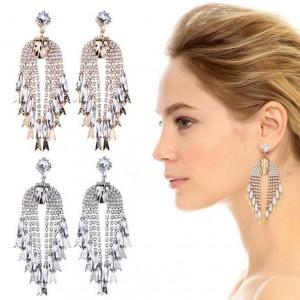 Full crystal long metal chain tassel earrings elegant bride wedding gift
