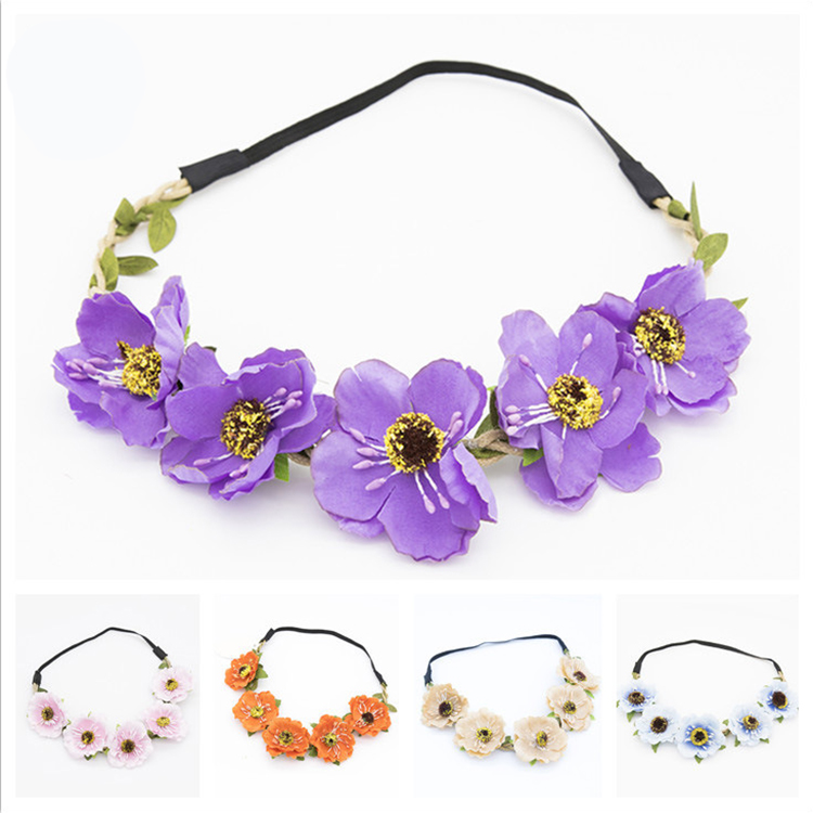 Fashion Women Bride Flower Headband Lady Bohemian Rose Flower Crown Hairbands Featured Image