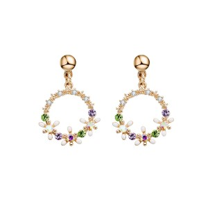 Fashion Needle Temperament Color Wreath Earrings Small Fresh
