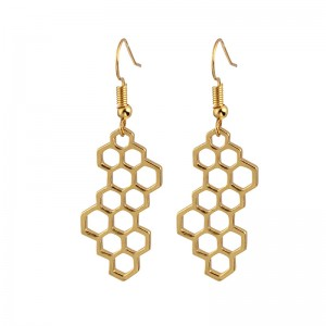 New designs 14k gold jhumka jewelry wholesale unique honeycomb dangle earrings