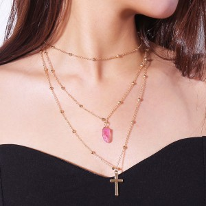 Fashion Multilayer Natural Crystal Stone Gold Cross Necklace Wholesale