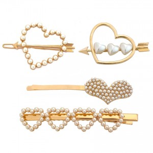 WENZHE Wholesale pearl metal hair barrettes heart shape hair clip for girl