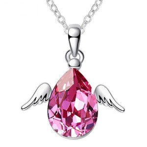 Angel wings multiple colors crystal pendant necklaces