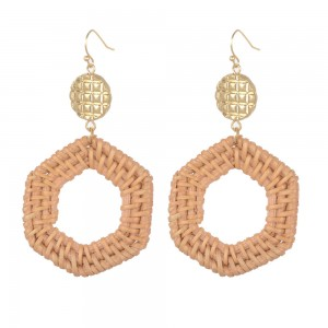 WENZHE New Handmade Geometric Wooden Straw Weave Rattan Earring Gold Metal Drop Earrings For Women