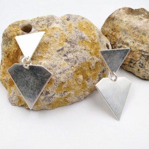 Silver Plated Triangle Earring Geometric Metal Earring For Women