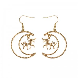 Fashion Japanese style simple moon unicorn gold plated drop earring