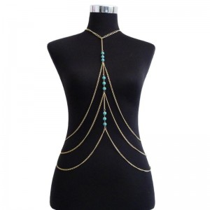 Bohemia Multilayer Turquoise Necklace Metal Sexy Waist Body Golden Chain