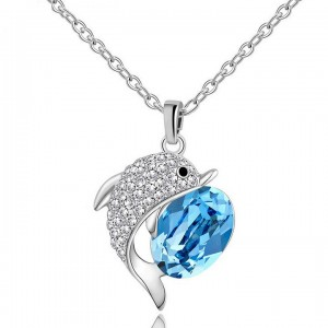 Wenzhe jewelry Sapphire Crystal jewelry High quality Dolphin Fish Pendant Clavicle Chain Necklace