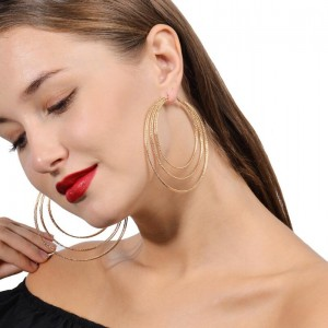 Newest 3 circles multilayer women party jewelry gold plated hoop earring