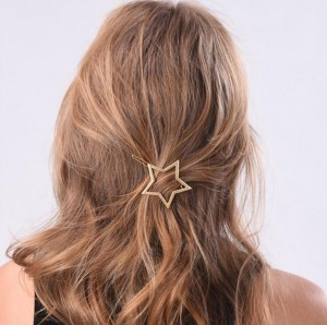 Simple pentagram hairpins metal star hair clip for girl golden hair jewelry