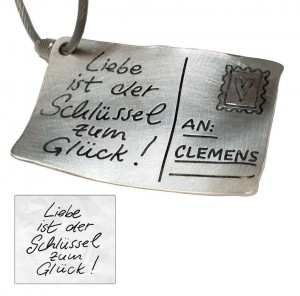 Men's Gifts Keyring Engraved Sterling Silver PERSONALIZABLE with your message