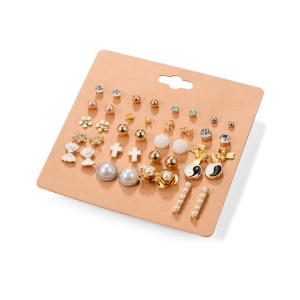 New Style Jewelry Women 20 Pairs Stud Earring Set Mixed Cross Bowknot Star Pearl Gold Jewelry Set