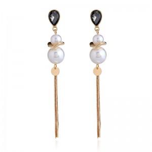 Fashion Pearl Earrings Design Rhinestone Gold Long Tassel Earrings