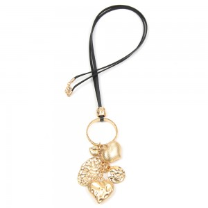 WENZHE Women's Gold Alloy Circle Heart Pendant Long Necklace