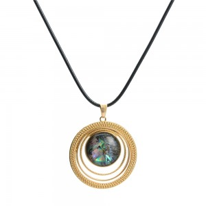 WENZHE New Arrival Round Abalone Shell Circle Gold Plated Necklace
