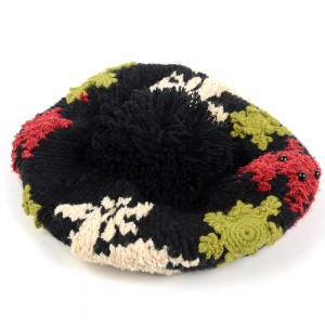 WENZHE New Snowflake Patterns Knitted Beret Pompom Ball Knit Beret Hat