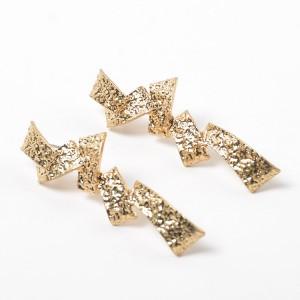 2019 New Metal Geometric Gold Earrings Wholesale Jewelry Folded Gold Earrings