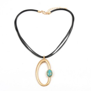WENZHE Gold Plated Blue Stone Multilayer Cord Necklace