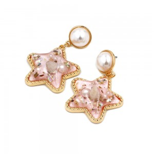 European and American New Design Star Shaped Pearl Shell Resin Drop Beach Style Earrings