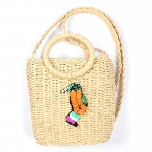 WENZHE New Design Summer Classic Handmade Custom Cartoon Sequins Bird Handbag Tote Crossbody Straw Bag