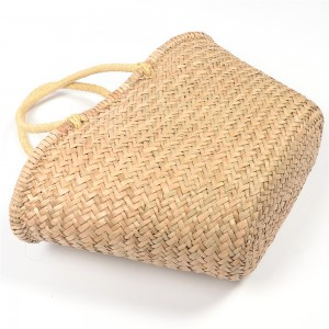 WENZHE Summer Simple Fashion Style Handmade Straw Tote Beach Bag