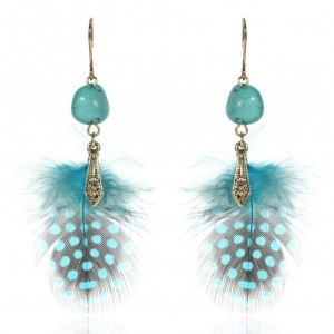 Fashion bohemian jewelry designs new model turquoise feather tassel earrings