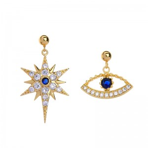 Unique Dangle CZ Star Earrings Asymmetric Stud Earrings Korean Fashion Simple Devil Eye Earrings