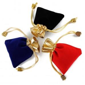 Professional custom golden edge velvet drawstring bag gift jewelry pouch