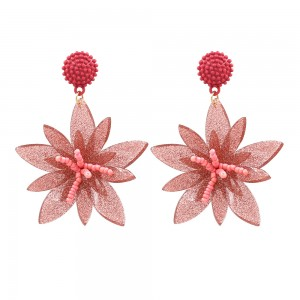 European and American Hot Style Seed Beads Acrylic Flower Shaped Dangle Earrings