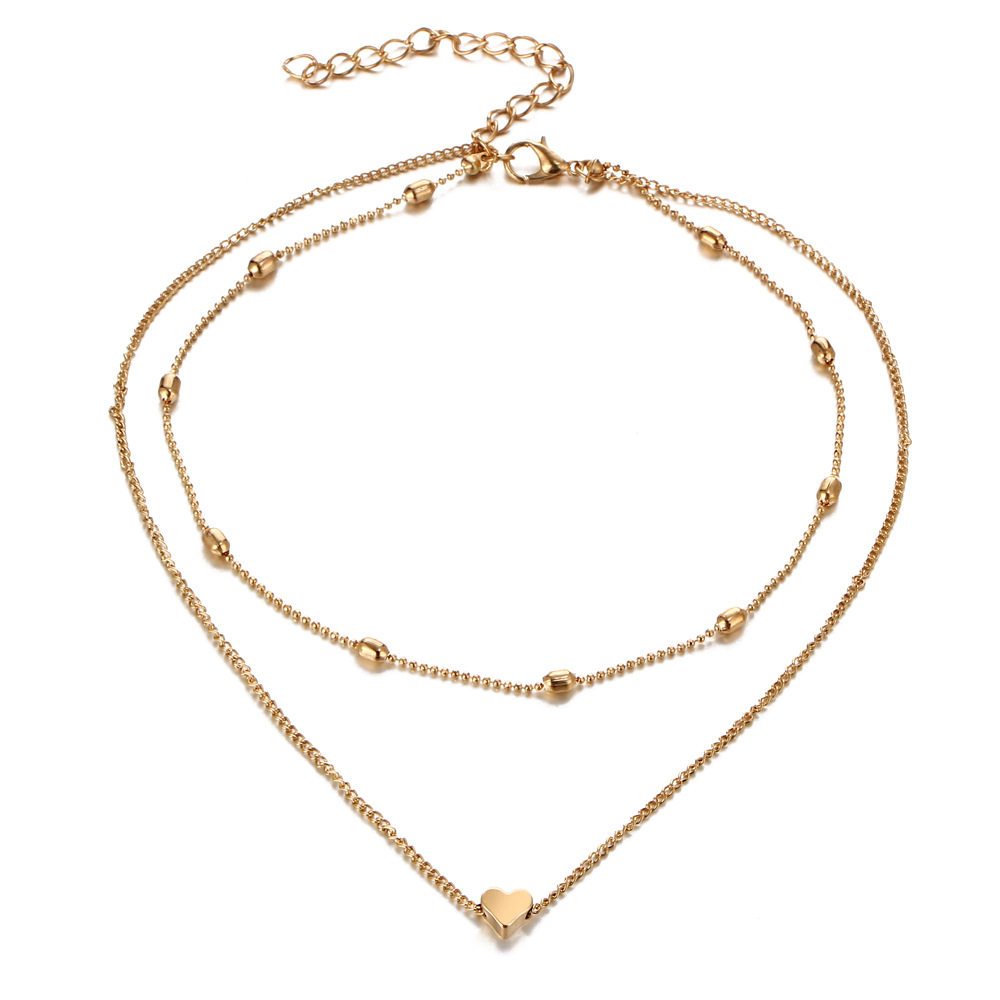 Fashion Gold Plated Love Heart Pendant Imitation Costume Necklaces Jewelry For Women Featured Image