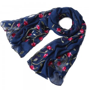 WENZHE 170*75cm Women Lightweight Pure color Embroidered Flower Scarf Chiffon Shawl