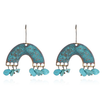 Wholesale Personality Metal Distressed Stud Earrings Geometric Semicircular Arch Turquoise Vintage Earrings Featured Image